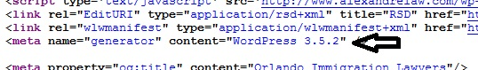 out of date WordPress version